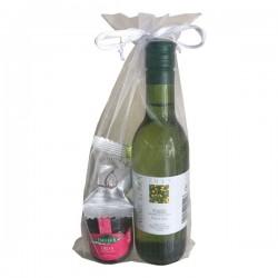 Set empresa con vino blanco, mermelada y bombón de higos
