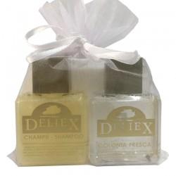 Set de colonia y champú marca Deliex para hoteles