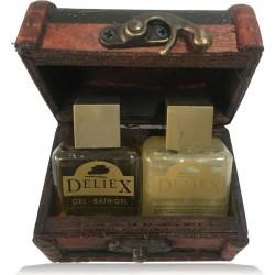 Comprar baúl de madera floreado con champú y gel Deliex para empresa