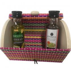 Aceite de oliva y vinagre con baúl