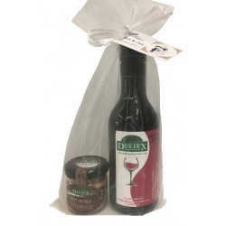 Detalle con Vino de Extremadura y un tarro de Paté Ibérico miniatura para empresa