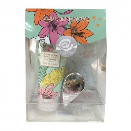 Estuche empresa mini cosméticos con agua de colonia y crema de manos-cuerpo para regalar
