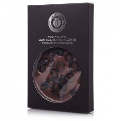 Mini tableta de chocolate con virutas de aceitunas negras