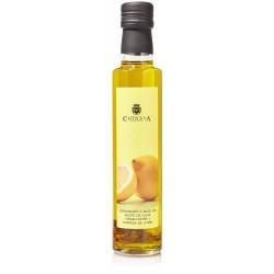 Botella de aceite de oliva con condimento de limón