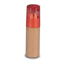 Estuche Tubo con Sacapuntas y Lápices color Rojo