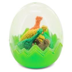 Detalle huevo con gomas de borrar dinosaurios