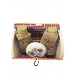 Champú Bodymilk y jabón con baúl madera