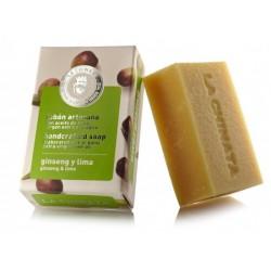 Pastilla de Jabón Artesano Energizante Ginseng Lima con Aceite de Oliva Ecológico