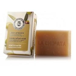Pastilla de Jabón natural Hidratante con Aceite de Oliva Ecológico 'Miel Karité' de La Chinata