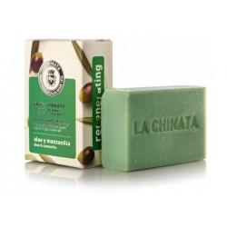 Pastilla de Jabón Artesanal Regenerador con Aceite de Oliva Ecológico 'Aloe Manzanilla' de La Chinata